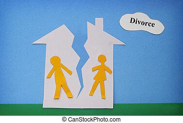 split house - paper cutout couple in a split house - divorce...