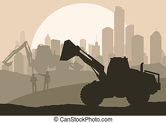 Excavator loader at construction site with raised bucket vector