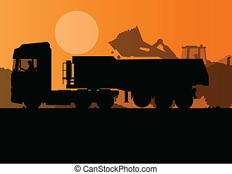 Excavator loader and heavy truck trailer at construction...