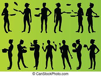 femme, cuisine, cuisine, grand, crêpes, autre,...