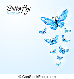 Abstract background with diamond butteflies - Abstract...