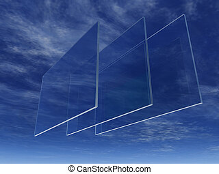glass - three windowpanes float in the sky - 3d illustration