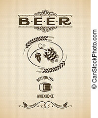 beer hops design vintage background 8 eps