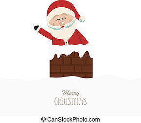 santa wave in chimney isolated