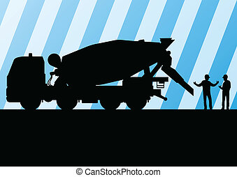 Heavy duty concrete making trucks and tractors in highway...