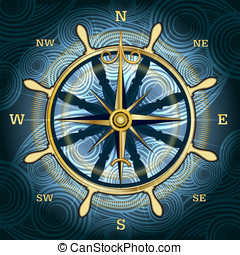 The compass - Illustration with golden compass with wind...