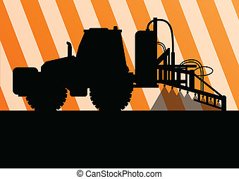 Agriculture tractor background illustration vector for poster