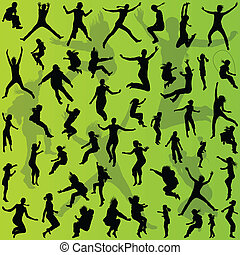 Young teenagers and children illustration collection silhouettes for poster