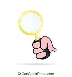 magnifying glass in hand vector illustration