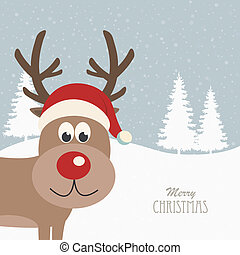 reindeer santa hat snowy background