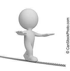3d person on a tightrope - 3d person walking on a tightrope...