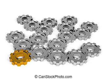 Collaboration - Interaction with each other gears. 3d image....