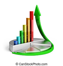 Growth trend - Diagram of financial growth 3d image White...