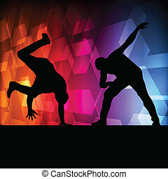 Boy dance silhouette vector background concept