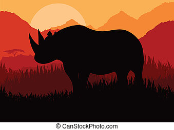 Africa lanscape vector for poster - Africa lanscape vector...