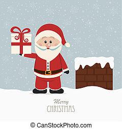 santa wave in chimney snow background