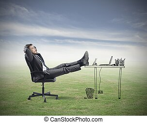 Relax - Successful businessman relaxing in an imaginary...