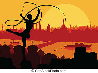 Young women doing calisthenics art gymnastics sport tricks with ribbon in abstract background illustration vector