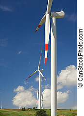 wind energy,white turbine - modern white wind turbine with...