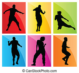 Dancing silhouettes set vector background