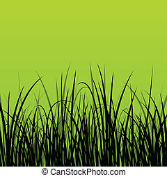 Grass, reed and wild plants detailed silhouettes...
