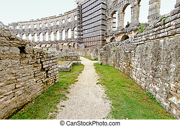 Coliseum reconstruction - Old path inside of ancient Roman...