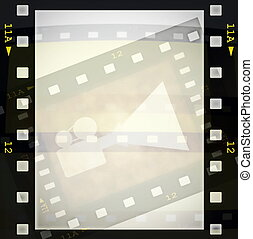 film strip frame, movie projector - film strip frame and...