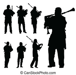 Scottish bagpiper silhouette vector background set for...
