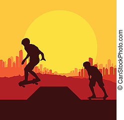 Skater silhouette in front of city landscape vector...
