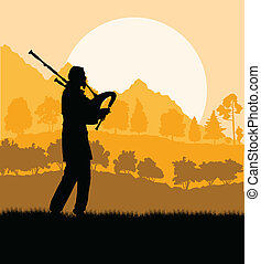 Scottish bagpiper silhouette landscape vector background for...