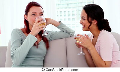 Content young women drinking wine while sitting chatting on...