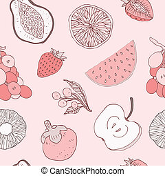 Seamless fruits background - Multi colored Seamless fruits...