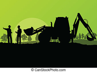 Excavator loader and workers digging at construction site...