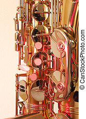 Brass tenor sax in closeup - Golden brass tenor saxophone...