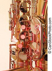 Brass tenor sax in closeup - Golden brass tenor saxophone...
