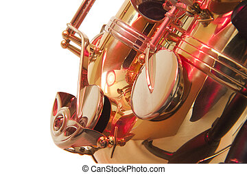 Brass tenor sax belly in closeup - Golden brass tenor...