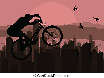 Mountain biking vector background for poster