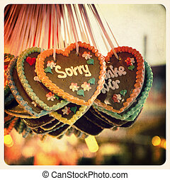 Sorry gingerbread - Retro effect image of Gingerbread hearts...