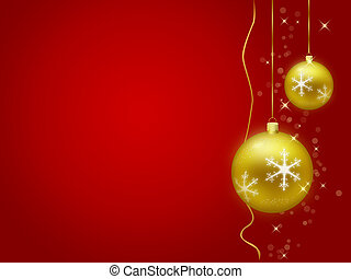 Golden christmas decorations with red background