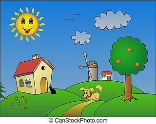 Landscape with happy sun