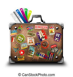 Suitcase - Old vintage suitcase with a travel stickers