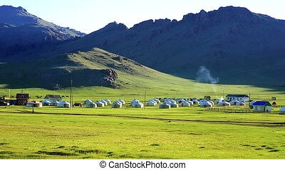 Yurt settlements, Terkhiin Tsagaan Lake, central mongolia -...