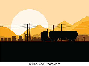 Industrial oil refinery factory and gasoline truck cistern...