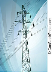 High voltage tower and line background