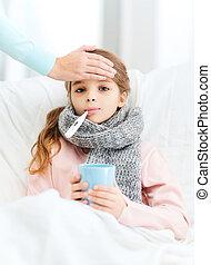 malade, girl, enfant, thermomètre, soucier, mère