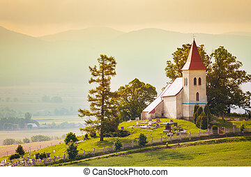 Tiny beautiful small church in Slovakia village with...