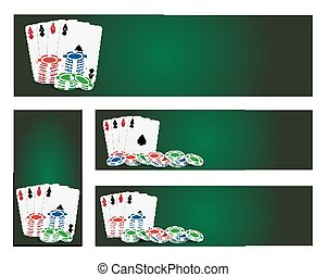 Poker banners - Set of poker banner with cards ans chips