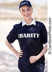 charity volunteer - pretty charity volunteer on street...
