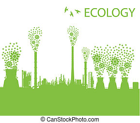 Ecology factory chimney vector background concept