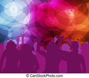 Neon dancing background vector with dancers for poster